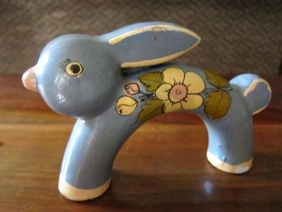 Tonala Mexican Folk Art - Rabbit Figurine - Bunny Figurine - Bunny Rabit Art - Mexican Pottery - Ken Edwards Style - MidCentury Mid-Century