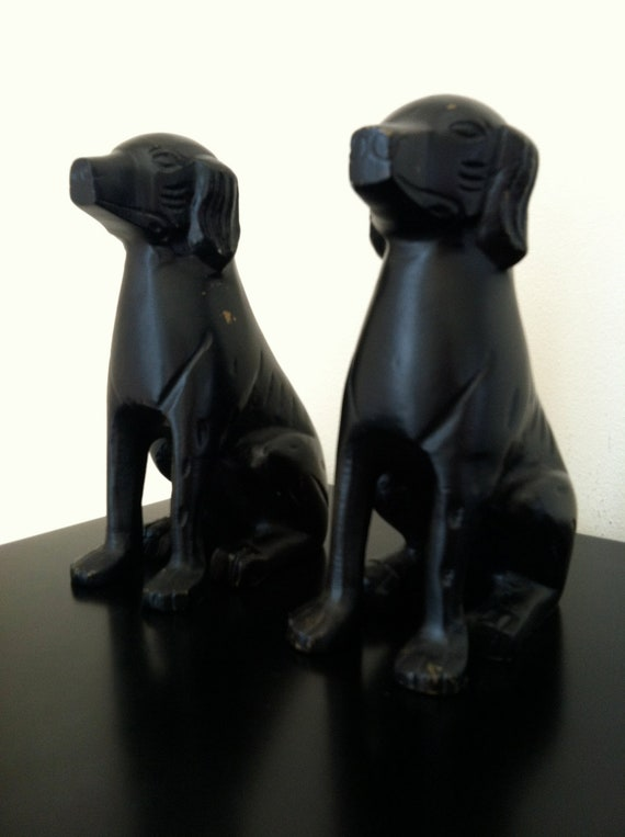 Black Labrador Retriever Dog Bookends Figurines