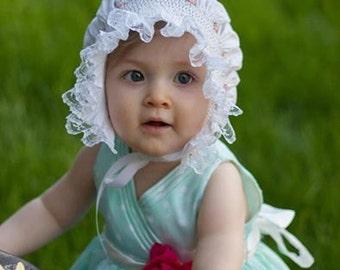Smocked Baby Bonnet ...Easter Bonnet..Hat..Heirloom...Vintage...Christening..Photo Prop... Custom Made....Smocking....Wedding
