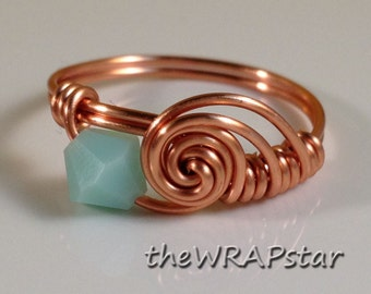 Copper Ring Wire Wrapped Jewelry Handmade Wire Wrapped Ring Swarovski Crystal Birthstone Ring Copper Jewelry Wire Ring ITEM0342