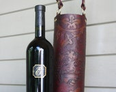 Wine Quiver / Tote Hand Tooled Leather in Wine and Tan - BURGUNDY
