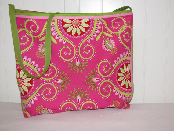Large Hot Pink Floral Tote