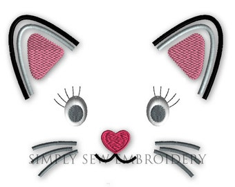 Cat Face Applique -- Girl or Boy Embroidery Design Machine Applique No. 039