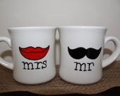 Hand Painted Coffee Mugs - Mr & Mrs Mustache and Lips - Personalized