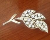 Vintage Sparkly Silver Leaf Brooch