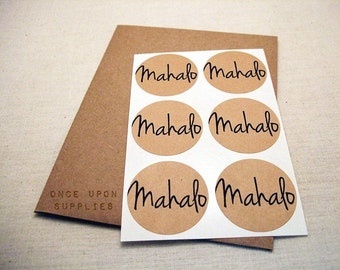 30 Mahalo Thanks Round Stickers Circle Labels 1.5-inch Envelope Seals Scrapbook Embellishments Thank You Hawaiian