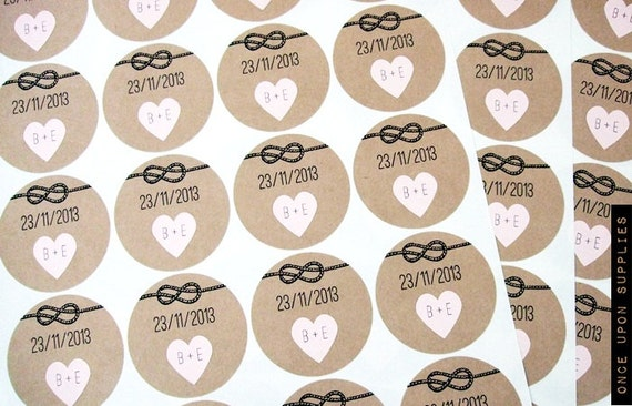 """Pack of 200 2"""" Tie the Knot Round Stickers with Mini Hearts - Personalized Wedding Save the Date"""