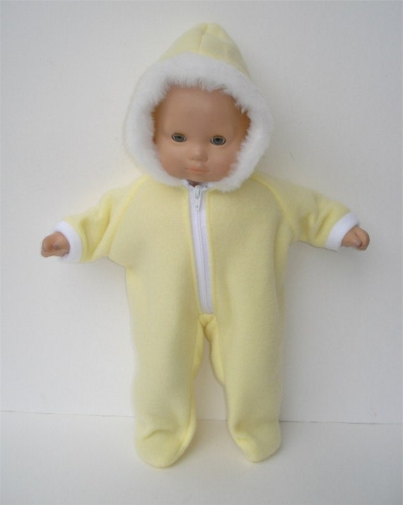 American Girl 15 inch Bitty Baby Doll Clothes Yellow Hooded Fleece Winter Snowsuit
