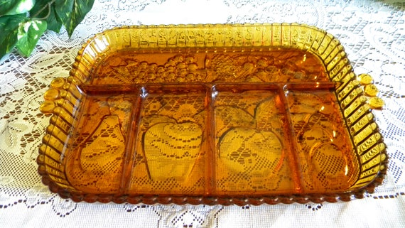 Vintage Fruits Amber Indiana Glass 5 Part Relish Tray