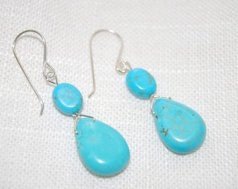 Silver and Turquoise Earrings Dangling