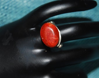 Statement Ring Red Coral Ring Silver Bold Chunky Red Ring