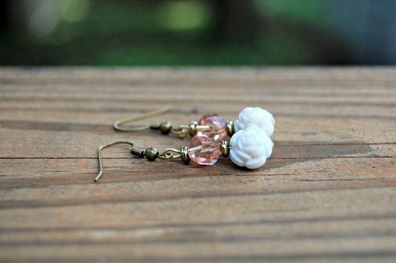Cream Rose Earrings Bronze Jewelry Peah Ligh Pink Beaded White Flowers