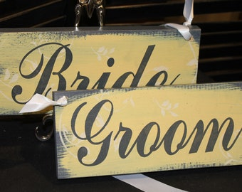 BRIDE GROOM Wedding Chair Signs/Photo /Great Shower Gift/Rustic/Yellow/Gray