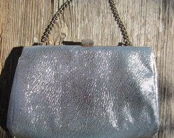 70s Silver Glam Purse w/ Chain Strap // Vintage Metallic Disco Clutch