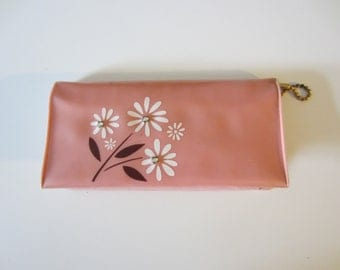50s Pink Floral Amity Plastic Billfold w/ Rhinestones and Pencils // Vintage Wallet