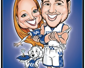 Sports Themed Wedding Caricature