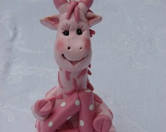 Giraffe  Birthday Cake Topper, Polymer Clay Children's Christmas Ornament,  Figurine.  Hand crafted art sculpture.