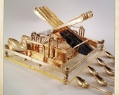 Vintage Gold Flatware 56 pieces Golden Barclay Geneve with Lucite Caddy Hollywood Regency
