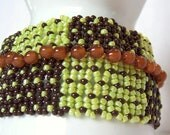 Net Weaving Wide Bracelet, Dark Chocolate and Mint with Caramel Beadwoven Bracelet, Tab Style Gold Clasp, Ready to Ship