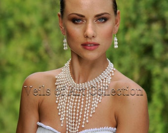 Pearls and Swarovski Crystals Bridal Necklace and Earrings Set by Veils of Art VE401