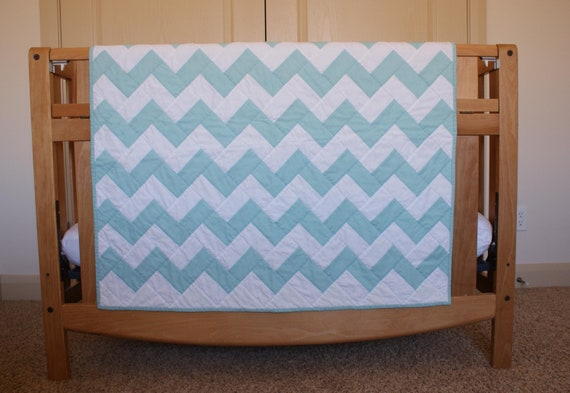 Chevron Aqua Blue Baby Blanket Quilt