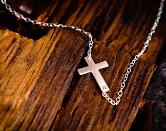 Sideways Silver Cross Necklace - Small Sterling Silver Off Center Offcenter Cross