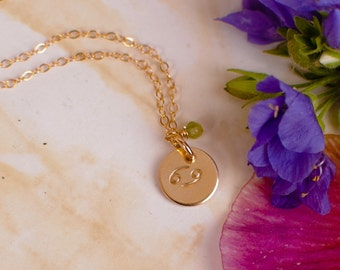 Tiny Cancer Necklace - small gold Cancer Zodiac Pendant on 14k Gold Filled Chain with Peridot or CHOOSE GEMSTONE - Tiny Dainty
