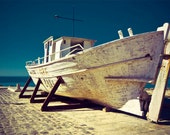 Photograph of an Abandoned Boat. Seascape Fine Art Print.  Yellow, white and deep blue tones. 8x12inch, cca 20x30cm