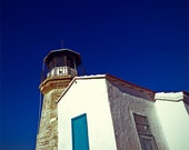 Photography Print of Lighthouse Watching the Mediterranean Sea. Deep blue and bright white.  8x8 inch, cca 20x20cm