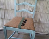 Vintage Shabby Chic Distressed Cottage Chic Burlap Blue Chair