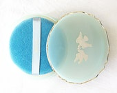 Avon Dusting Powder Puff in Blue, Complete Unused Cameo Doves
