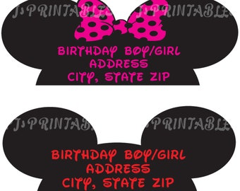 Minnie OR Mickey Mouse Return Address Labels - Customized Digital File (full sheet of 30)