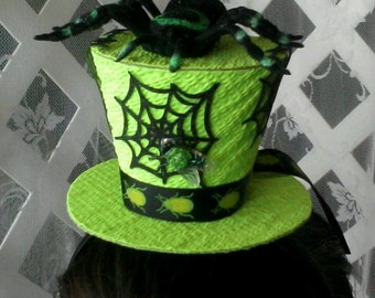 Lime green spider and web top hat