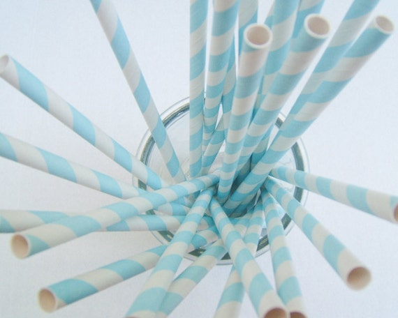 CLEARANCE - Striped Paper Drinking Straws (25) - BABY BLUE - Includes Free Printable Straw Flags