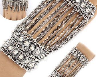 Silver Hand Bracelet Can be worn 3 Ways