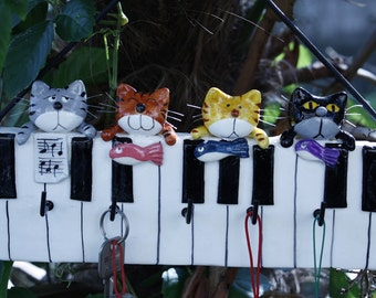 Cats on a piano - Key Rack / Holder