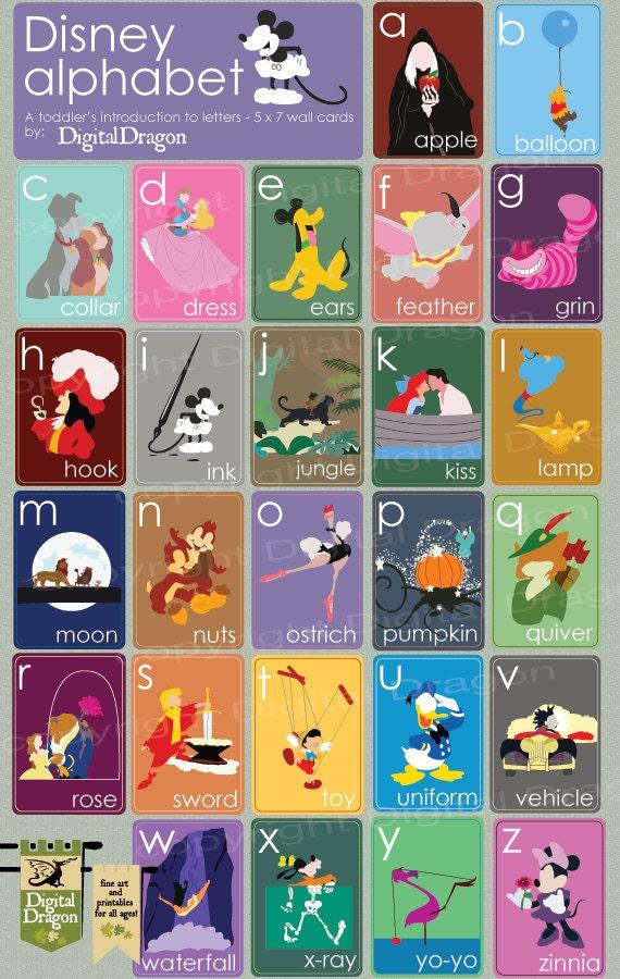 Disney Alphabet 5x7 Cards