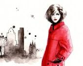 Watercolor Fashion Illustration: London Calling -- 8 x 10 Fine Art Print