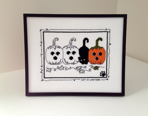 Completed Framed Cross Stitch Cat-O-Lantern Halloween Picture