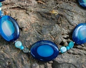 Blue Agate Necklace - 19 inches