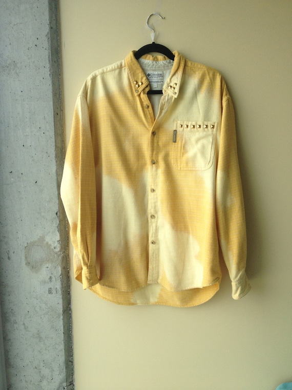 Grunge Studded Bleached Yellow Flannel Long Sleeve Shirt