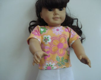 "18"" Doll Clothes - peach color print Top and white skirt   flowers"