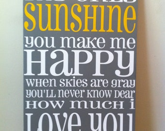 "Customized ""You Are My Sunshine"" Subway Art Board"