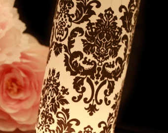 Damask Wedding Decor, Black & White Wedding, Damask luminary, Black and White Damask Wedding- set of 10