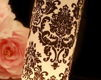 Damask Wedding Decor, Black & White Wedding, Damask luminary, Black and White Damask Wedding- set of 10