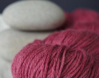 """Hand Dyed Yarn Baby Alpaca and Silk . DK . """"Crimson"""" . 300 yards . Super Soft . Dark Pink"""
