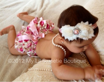 Vintage Floral Satin Bloomer Set- Headband and Bloomers- Newborn Outfit - Baby Girl Outfit - Toddler- Photo Prop- Easter Outfit