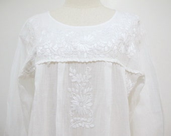 Mexican Embroidered Dress Long Sleeves White Cotton Tunic