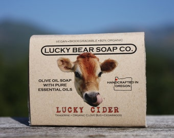 Lucky CIDER Soap organic vegan Handcrafted olive oil Soap w essential oils Tangerine CLOVE Cedarwood Cinnamon