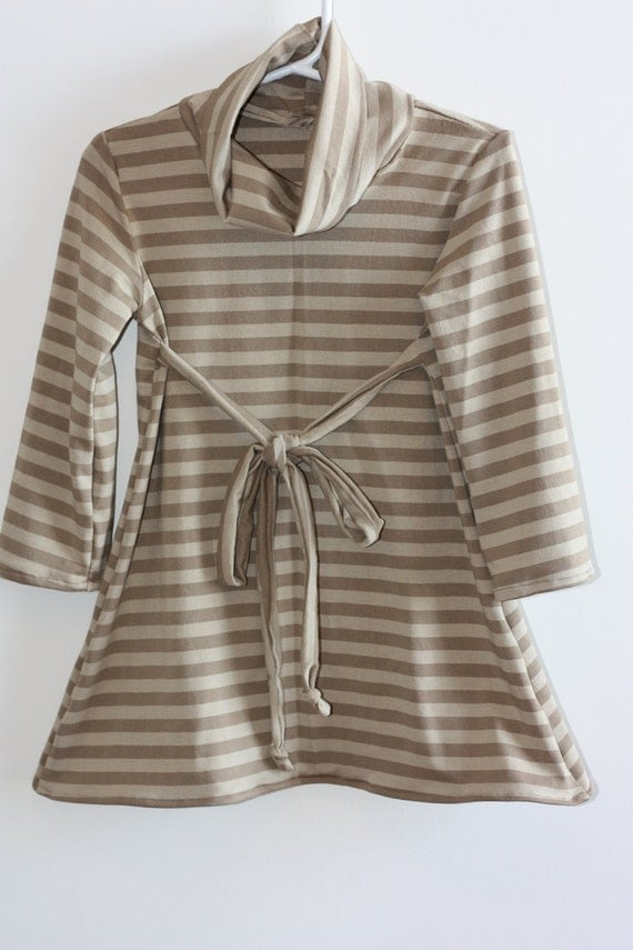 Clearance - Beige and brown stripped knit cowl neck dress - girls size 3